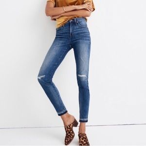 Madewell 9 inch high rise skinny distressed jeans